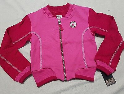 Converse Girls' / Kids' Pink Cotton Baseball Jacket Top  110-116Cm - Rrp £45