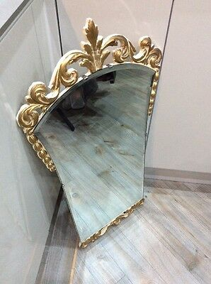 Vintage ,retro French Style Hall Way Mirror ,cream And Gold Frame ,bevelled Edge