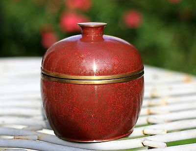 Antique Chinese Red Cloisonne Lidded Bowl,Late Qing/ Republic