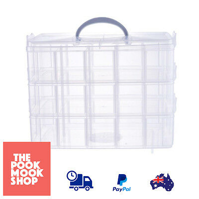 Bead Snap Storage Container Organizer Beads Clear 3 Tier Box Compartment Plastic
