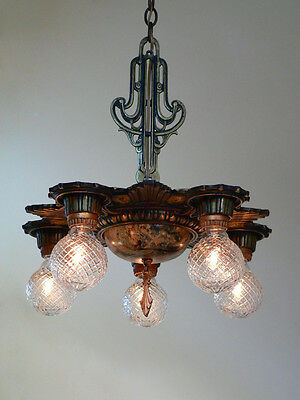 Antique Victorian Art Deco ceiling chandelier fixture from 1920's