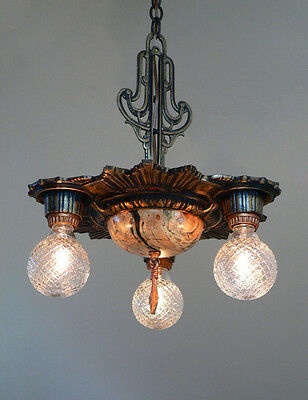Antique Victorian Art Deco 3 lights ceiling chandelier fixture from 1920's
