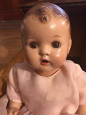 1930's large DREAM BABY doll Jointed Body Sleep Eyes, Open Mouth, W/ Wood Crib