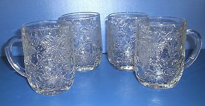 COFFEE MUGS - Hot or Cold x 4 - Princess House - 'Fantasia' Crystal - Ex Cond