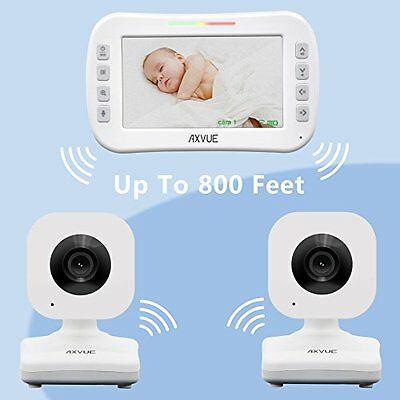 "Baby Kids Video Monitor 2 Cameras 4.3"" LCD Screen Night Vision Remote Portable"