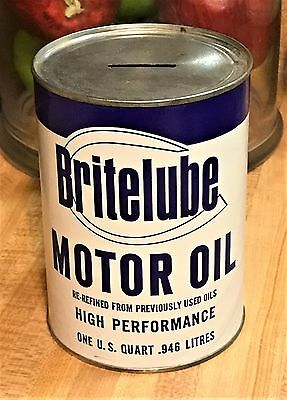 Vintage Britelube High Performance Motor Oil Full Size Tin Can Bank 1 US Quart