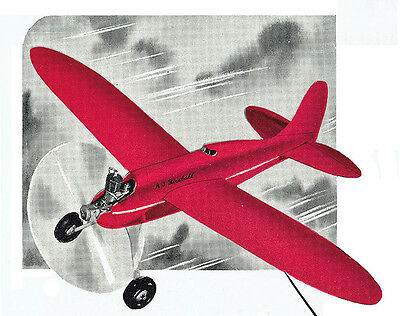 "Model Airplane Plans (UC): Vintage Jim Walker Fireball 36""ws for .23 Engine"