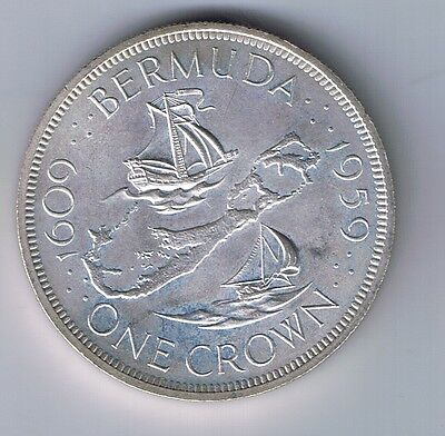 1959 Bermuda Silver 1 Crown Coin British Colonial UNCIRCULATED BU MS NICE !