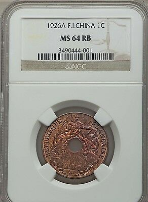 1926 A French Indo-China 1 Cent, NGC MS 64 RB, Cochin, Vietnam