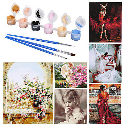 8Types Hand Painted Picture DIY Oil Paint By Number Kit On Canvas Home Decor OB