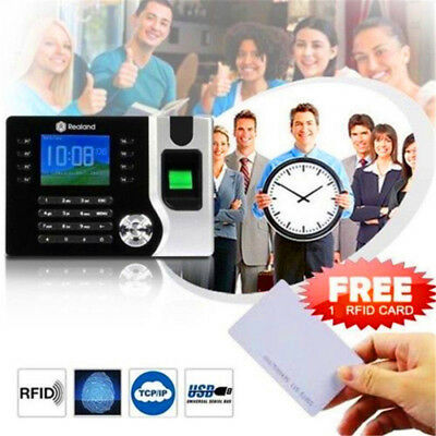 AU SHIP Electronic Time Attendance Fingerprint Time Recorder Timecards + 10 CARD