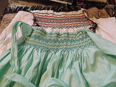 vintage hand crafted Smocked half Apron & an unfinished piece  -  need pressing