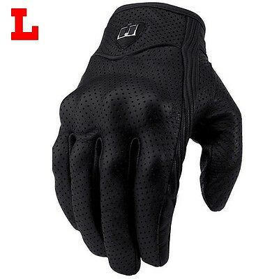 1 Pair Universal Motorcycle Riding Mesh Leather Protective Armor Gloves Black  L