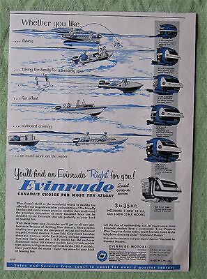 1957 Canadian Ad Evinrude Outboard Motor 6 Models Shown 3Hp To 35 Hp Lark