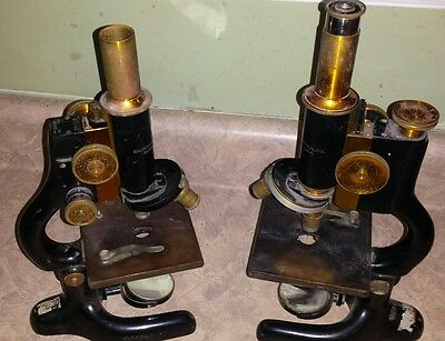 Antique Bausch & Lomb Brass & Cast iron microscopes. 2 microscopes