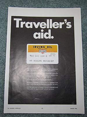 1968 Irving Oil Gas St John New Brunswick Ad Credit Card Gas Station