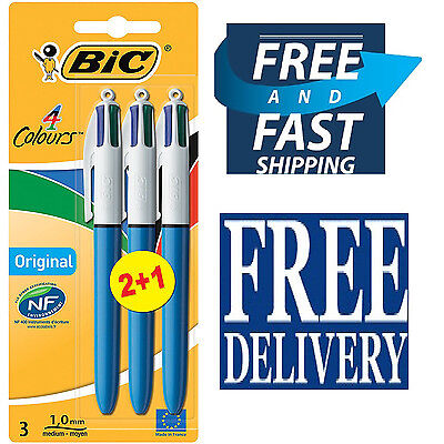 3 BIC 4 Multi Colour Black Blue Red Green All In 1 Retractable Ball Pen Notes
