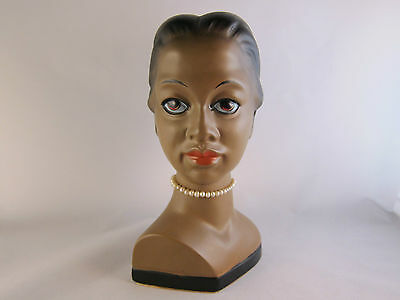 Vintage 1950's Japan Ceramic African American Womanl Head Bust 7 inches tall