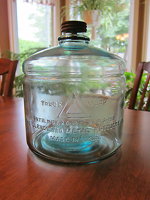 1919 Blue Glass Kerosene Jar Triangle Mark Cleveland Metal Products Bottle Jug