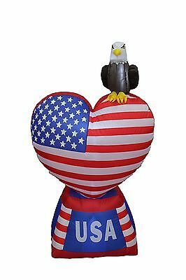 5 Foot Tall Patriotic Independence Day Inflatable Love Heart with American Fl...
