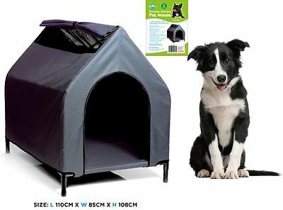 XLARGE Waterproof Pet House Grey Color Resistant Dog Bed Puppy Kennel Elevated W