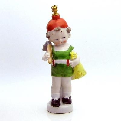 Vintage German Crown Top Figural Perfume Bottle Young Boy with Farming Hoe