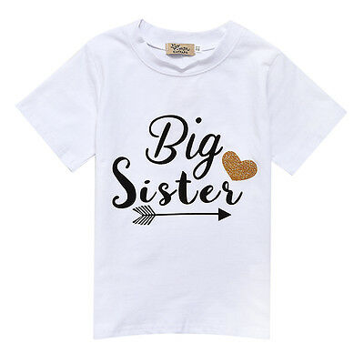 Summer Baby Girls Big Sister Printed Cotton Tee Shirt T-Shirt Tops Clothes White