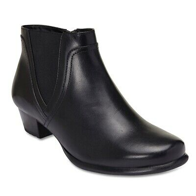 NEW Wide Steps Dion Black Leather Ankle Boots Womens Shoes Wide Fit C+ Fit