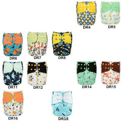 Pocket Baby Diaper Nappy Reusable Washable Round Tabs Microfleece 20 Designs