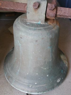 Antique Bell All Bronze Weighs about 185 #  Bottom 48. Approx 15 tall