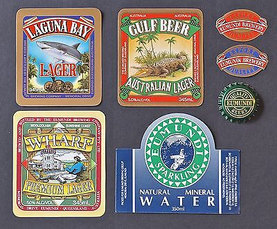 6  Eumundi Beer - Brewery Labels + A Bottle Cap - Brand New - Never On A Bottle.