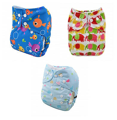 Alva Modern Cloth Nappy Diaper with Inserts Reusable Washable MCN 3 Pack Set