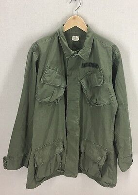 Vtg Vietnam Era US Army Slant Pocket Poplin Rip Stop Shirt Jacket~Sz Medium Long