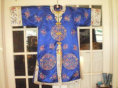 Pretty Antique Chinese Royal Blue Silk Embroidered Forbidden Stitch Robe/Jacket