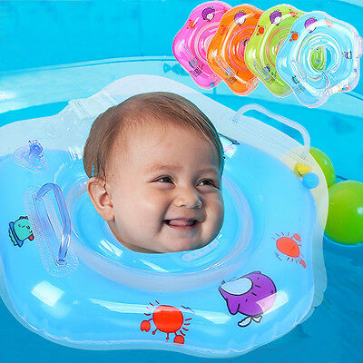 Cartoon Dolphin Inflatable Swiming Bath Neck Ring Baby Bathing Accessories