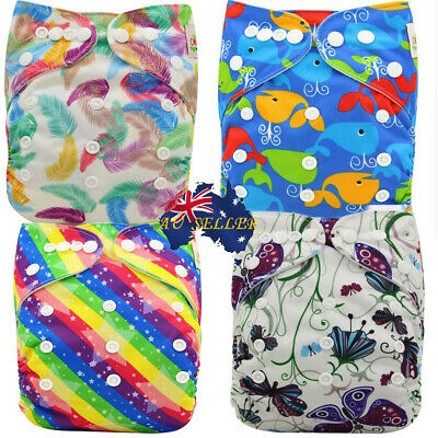 Modern Cloth Nappy Diaper with Inserts Reusable Washable MCN 4Pack Design 3