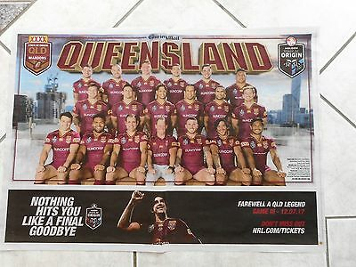 Qld State of Origin 2017 souvenir poster Game 1 NRL team maroons Queensland