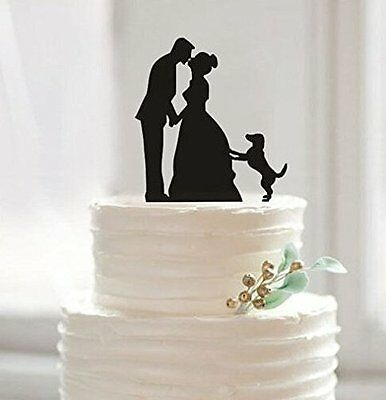 Family Bride Groom with a dog Acrylic Wedding Cake Topper Sign Decoration