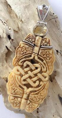 !!!SALE!!! Celtic Design Bone Pendant with Faceted Citrine - 925 SS