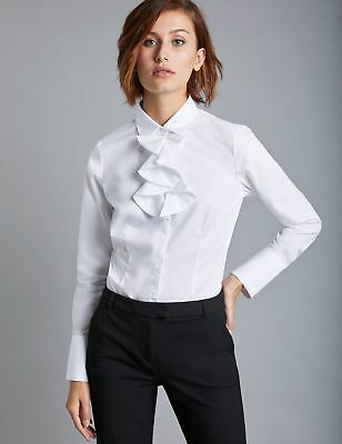 90e77e795abe3 Hawes   Curtis Womens Long Sleeve Poplin Fitted Shirt with Neck Frill Detail