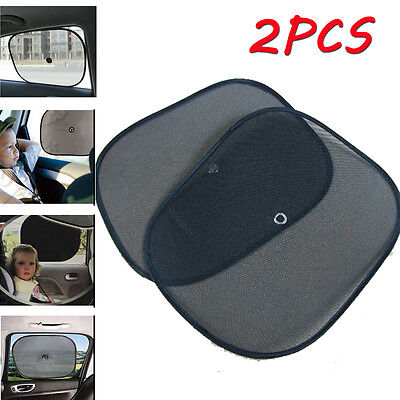 2x Black Kids Baby Children Car Window UV Protection Blind Mesh Sun Shades Twin