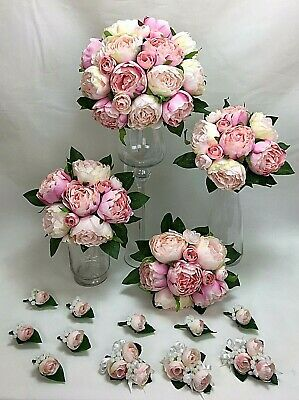Light Pink/ Pink Peony Artificial Silk Flowers Wedding Bouquet Set cintahomedeco