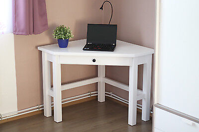 White Solid Wooden Corner Desk with drawer