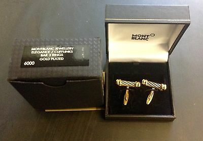 Rare Style Mont Blanc Cufflinks Gold Plated In Box of Issue
