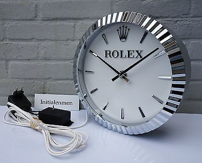 ROLEX wallclock 100% ORIGINAL used clock XL wall VERY RARE 12 inch INDUCTA move