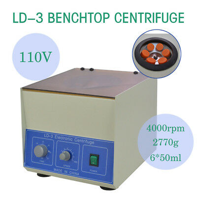 TOP New LD-3 Electric Benchtop Centrifuge Lab Medical Practice 4000rpm 6*50ml