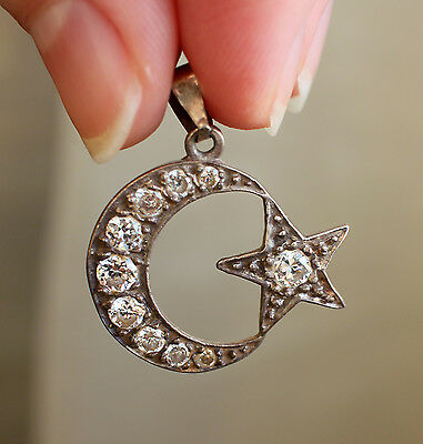 Antique Vintage Islamic Moon Star Sterling Silver Pendant Muslim Islam Amulet
