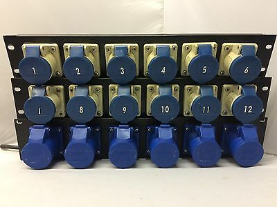 3 x 6 Way 16 Amp Outlet Rack Panel