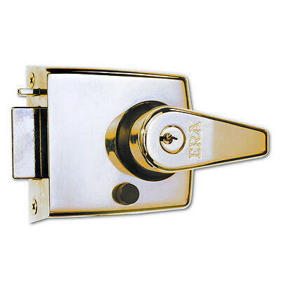 ERA 193-31 Deadlocking Nightlatch Door Lock 60mm Backset Polished Brass