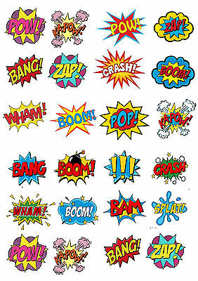 24 x Comic  ( Zap Pow ) Cup Cake Toppers ICING